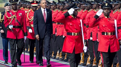 Tanzanian President Jakaya Kikwete (R) and US President Barack Obama met to discuss trade possibilities  [AFP]
