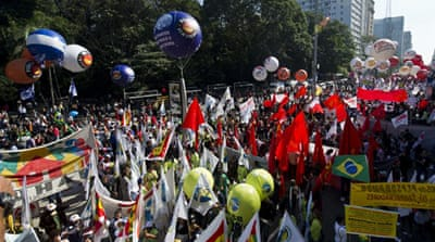 Brazil unions stage nationwide protests