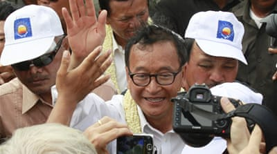 Opposition leader Sam Rainsy called for an investigation into alleged vote fraud [Kate Mayberry/Al Jazeera]