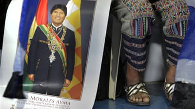 Evo Morales (L) lashed out at US ahead of a special meeting of South America's leftist leaders [Reuters]
