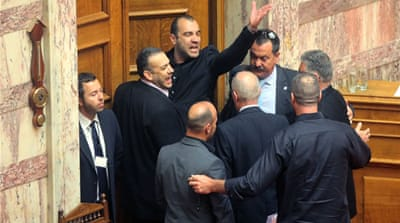 Golden Dawn won 18 seats in the Greek parliament last year [AFP/Getty Images]