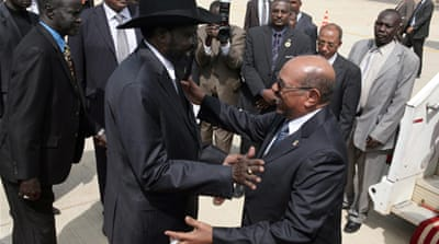 Sudan's President (R) visited South Sudan in April for the first time since the country split in 2011 [EPA]