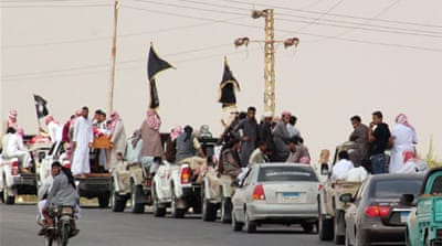 A funeral convoy has carried the bodies of the fighters through the Sinai region