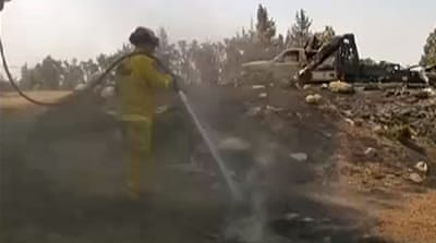 US firefighters battle California wildfires