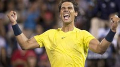 Earlier in the tournament Rafael Nadal beat Novak Djokovic in the semifinals on Saturday [AP]
