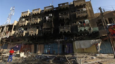 Bomb damage in the city of Nasiriyah, where four people were killed [Reuters]