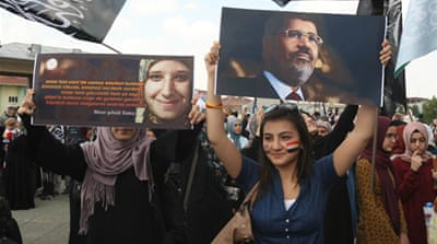 Hundreds of pro-Morsi protesters took to the streets in the Turkish capital [AFP]