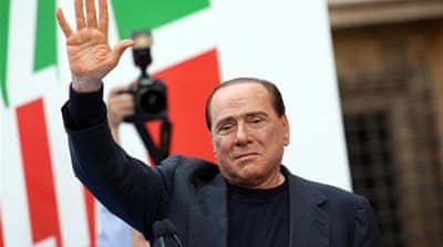 The upholding of Berlusconi's tax conviction has led to protests in Italy  [EPA]