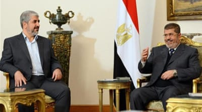 Hamas, led by Khaled Meshaal (left), has been accused of interfering in internal Egyptian affairs [AFP/Getty Images]