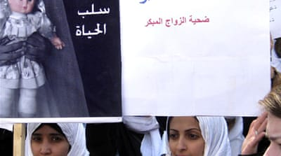 Yemeni women have in the past protested over the issue of child brides [AP]
