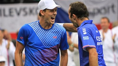 Berdych and Stepanek beat Berlocq and Zeballos to improve their Davis Cup doubles record to 13-1 [AFP]