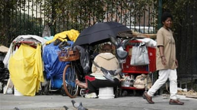 The number of the US working poor living in shelters is rising at an alarming rate, advocates say [Reuters]