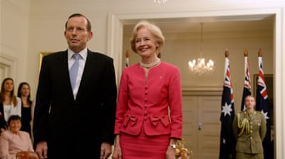Tony Abbott got straight to work after being sworn in by Quentin Bryce, the Governor-General [EPA]