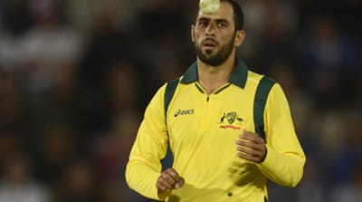 Fawad Ahmed pictured without beer logos on his shirt during the first T20 international against England [Reuters]