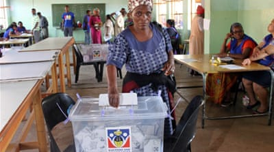 The thumbs of people who voted in Swaziland's elections were marked with black ink [Tendai Marima/Al Jazeera]