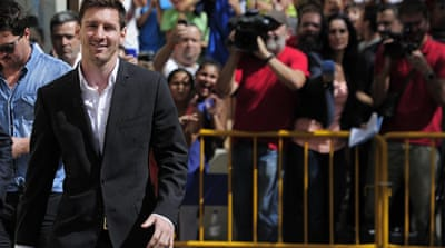 Messi, pictured above, and his father, who are accused of hiding more than $5m, deny any wrongdoing [AFP]
