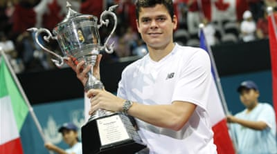 Third seed Raonic fired 18 aces on his way to claiming the fifth title of his career [Reuters]