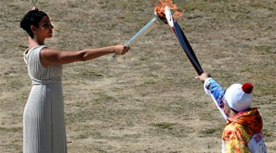 The torch relay arrives in Sochi in early October and begin a 123-odyssey, including a trip to space [AFP]