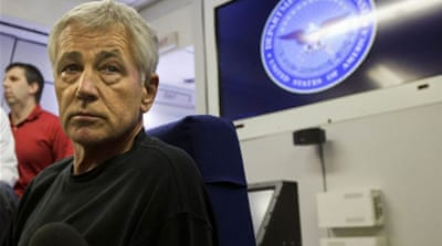 Defence Secretary Hagel says using threats to shut down government to satisfy political whim shortsighted [AFP]