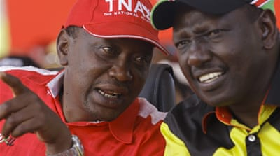 President Uhuru Kenyatta (L) and deputy President William Ruto (R) face charges of crimes against humanity [EPA]