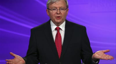 Rudd stepped down as Labor party leader for the second time, after a landslide defeat in the 2013 polls[EPA]