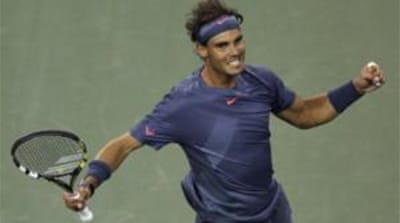 Rafael Nadal, of Spain defeated Tommy Robredo, of Spain,  during the US Open quarterfinals [EPA]