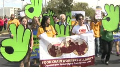 Walmart employees rally against low wages