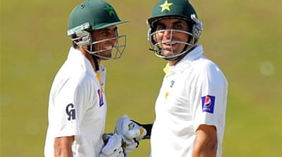 Younus (left) and Misbah added 218 runs for the fourth wicket [AFP]