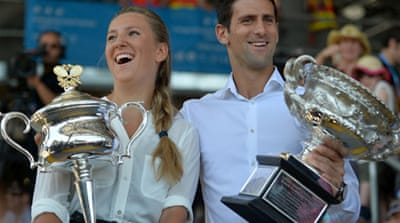 Defending champions Novak Djokovic and Victoria Azarenka of Belarus ahead of the Australian Open [AFP]