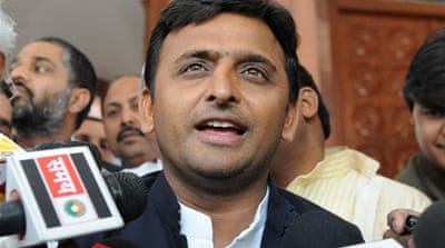 Chief Minister Akhilesh Yadav was seen in the front row enjoying Bollywood dance numbers [Showkat Shafi/Al Jazeera]