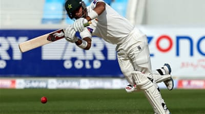 Batsman Misbah-ul-Haq plays an off drive for one of his six boundaries as Pakistan recover [AFP]