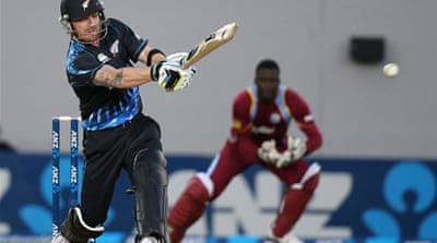 Nathan McCullum of New Zealand celebrates his LBW of Kieran Powell of the West Indies [Getty Images]