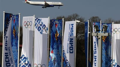 The Olympic torch passing through Russia towards its final destination of Sochi [AFP]