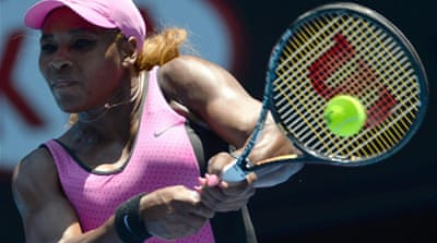 Serena Williams en route to victory over Slovakia's Daniela Hantuchova [AFP]