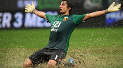 Genoa's Mattia Perin celebrates his side's late win over Inter Milan [Getty Images]