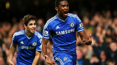 Eto'o made United pay for sloppy defending once again with a superb hattrick at Stamford Bridge [Getty Images]