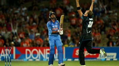 New Zealand celebrate Bhuvneshwar Kumar of India being run out during the first ODI [AFP]