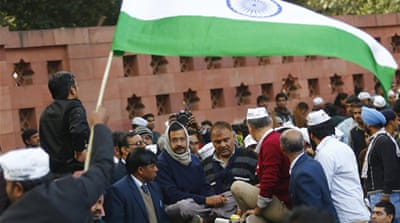 Arvind Kejriwal and his ministers held cabinet meetings on the street during the protest [AFP]