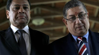 N Srinivasan (right) is the president of the Indian cricket board [Reuters]