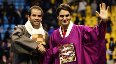 Sampras (left) is amazed that Federer is not only playing at 32 but also trying to improve his game [Getty Images]