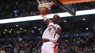 Toronto Raptors guard Terrence Ross dunks against the Los Angeles Clippers [Reuters]