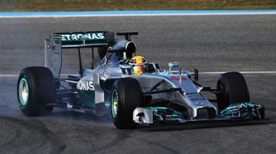 Lewis Hamilton drove his new Mercedes into the barrier during Formula One's first preseason session in Spain [AFP]