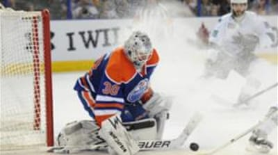 Edmonton Oilers goalie Ben Scrivens (30) broke the earlier record of 54 stops set in 2012 [Reuters]