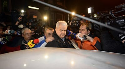 Romania's ex-prime minister Adrian Nastase returns to jail after being released on March 18 in Bucharest [AFP]