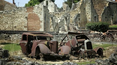 Only five men and a woman survived the massacre in the French village of Oradour-sur-Glane in 1944. [AFP]