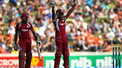 Edwards (R) and Bravo shared a 211-run fourth-wicket partnership to take West Indies to 363 [Getty Images]