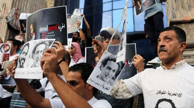 News photographers and journalists protested in front of the journalists' syndicate in Cairo [EPA]