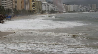 Acapulco beach was badly flooded just four weeks ago when Tropical Storm Polo hit the area [EPA]
