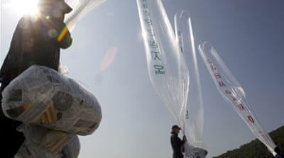 Korea leaflet launch grounded by egg-throwers