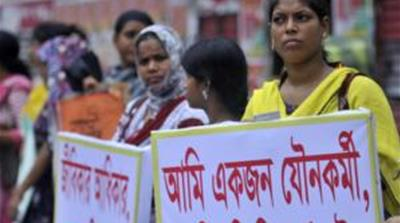Sex workers in Tangail and Dhaka have protested against the forced removals [Sourav Lashkar/Al Jazeera]